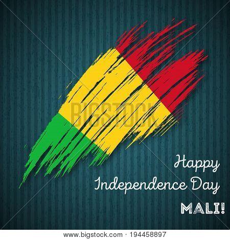 Mali Independence Day Patriotic Design. Expressive Brush Stroke In National Flag Colors On Dark Stri
