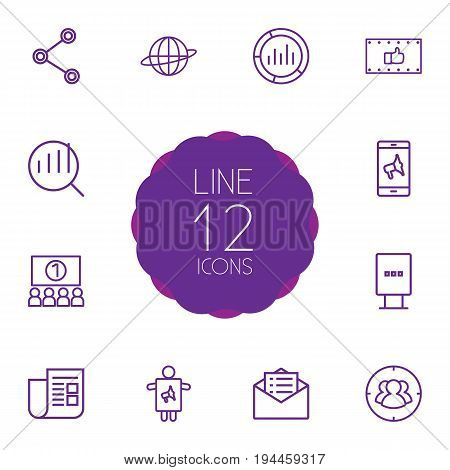 Set Of 12 Advertising Outline Icons Set.Collection Of Brand Awareness, Ad Banner, Audience Elements.