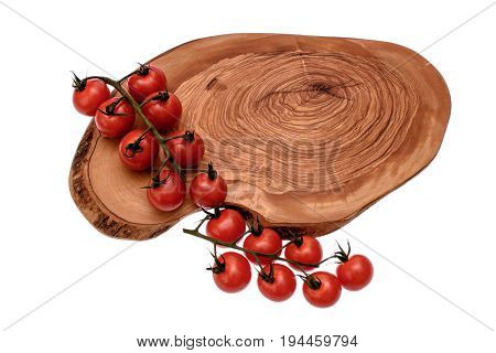 Cherry Tomatoes Lie On A Wooden Board Of Drying Oil, Isolated On White Background
