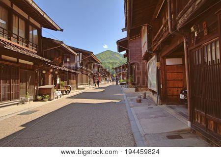 NARAI JAPAN - JUNE 4 2017: People are walking at Narai is a small town in Nagano Prefecture