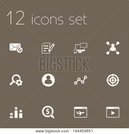 Set Of 12 Optimization Icons Set.Collection Of Dartboard, Sale, Columns And Other Elements.