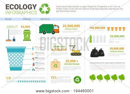 Ecology Infographic Banner Recycle Waste Sorting Garbage Concept Environmental Protection Vector Illustration