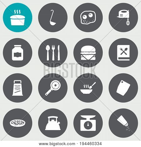 Set Of 16 Culinary Icons Set.Collection Of Pepperoni, Saltshaker, Weighing Machine And Other Elements.