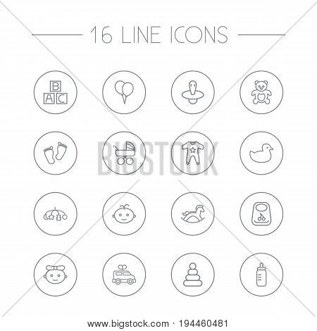 Set Of 16 Child Outline Icons Set.Collection Of Bottle, Bib, Rubber And Other Elements.