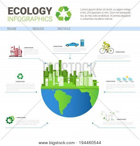 Ecology Infographics World Environmental Protection Green Energy Concept Banner With Copy Space Vector Illustration
