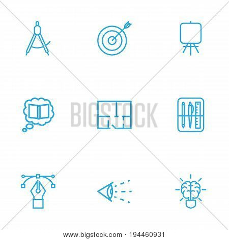 Set Of 9 Creative Outline Icons Set.Collection Of Drawing Tools, Vision, Bezier Curve And Other Elements.