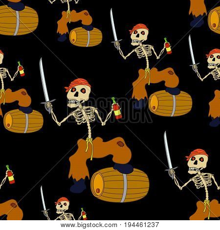 Seamless Wallpaper, Cartoon Evil Zombie Pirate Jolly Roger Skeleton with a Sword, Bottle of Wine and Barrel on Black Tile Background. Vector