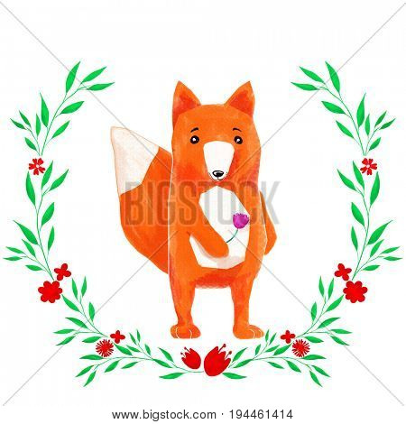 Cute cartoon watercolor pastel fox forest animal. Hand painted lovely baby fox illustration perfect for print and card making. Woodland wild orange fox