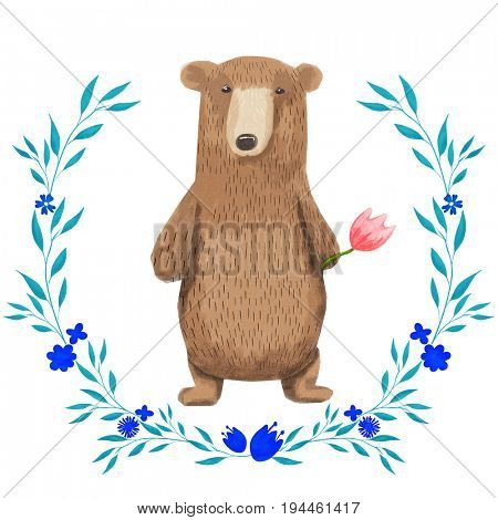 Cute cartoon watercolor pastel bear forest animal. Hand painted lovely baby bear illustration perfect for print and card making. Woodland wild brown bear