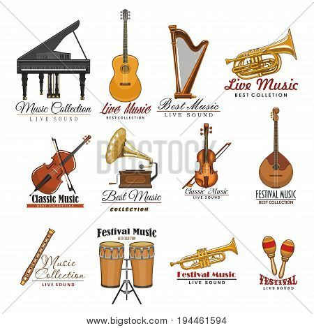 Music instrument and festival of live music symbols. Guitar, drum, violin and harp, trumpet, piano and horn, flute, mandolin and maracas, viola and retro phonograph isolated sign for music design