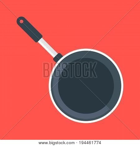 Black frying pan, empty black frypan, skillet. Top view. Vector illustration