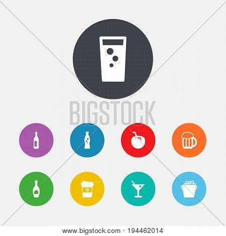 Set Of 9 Drinks Icons Set.Collection Of Cocktail, Espresso, Fizzy Water And Other Elements.