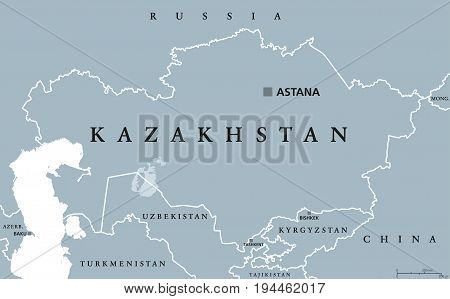 Kazakhstan political map with capital Astana. Republic. Transcontinental country in northern Central Asia and Eastern Europe. Gray illustration isolated on white background. English labeling. Vector.