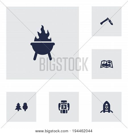 Set Of 6 Adventure Icons Set.Collection Of Jackknife, Map, Tree And Other Elements.