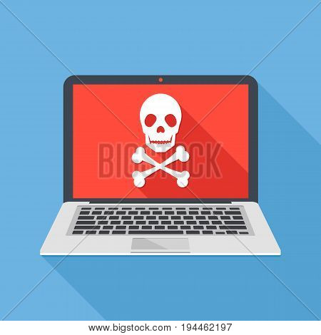 Laptop with skull and crossbones. Notebook and skull icon. Virus attack, ransomware, malicious software, hacker attack, spyware concepts. Long shadow design. Modern flat design vector illustration