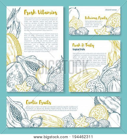 Exotic fruit sketch poster template. Fresh tropical papaya, feijoa, carambola, dragon fruit, durian, passion fruit, lychee, guava and fig for exotic juice and dessert menu flyer, food and drink design