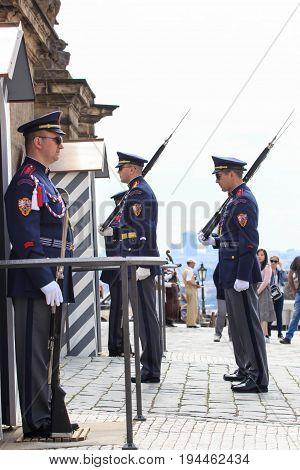 PRAGUE - MAY 17: Guard at Prague Castle, May 17, 2017 in Prague, Czech Republic.