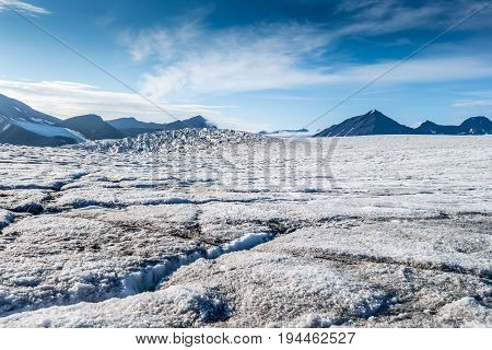 View from top surface of a Glacier Svalbard