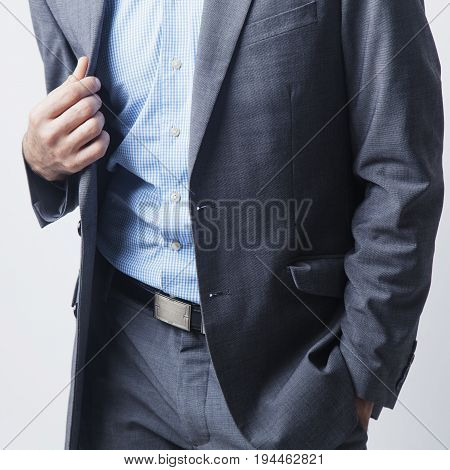 Businessman ready to finance the project. Gestures body language concept.