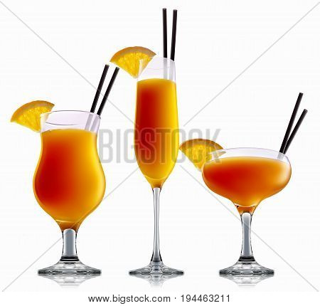 fresh fruit alcohol cocktail or mocktail mimosa in classic glass with orange beverage isolated on white background