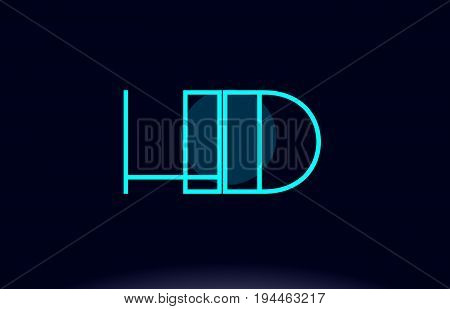 Hd H D Blue Line Circle Alphabet Letter Logo Icon Template Vector Design