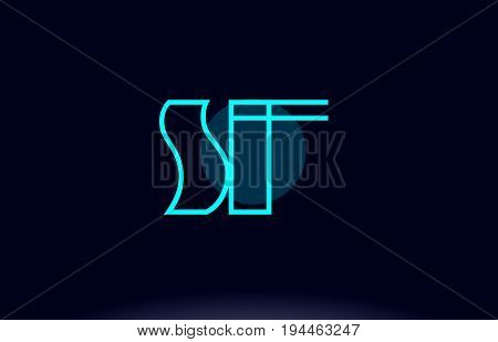 Sf S F Blue Line Circle Alphabet Letter Logo Icon Template Vector Design