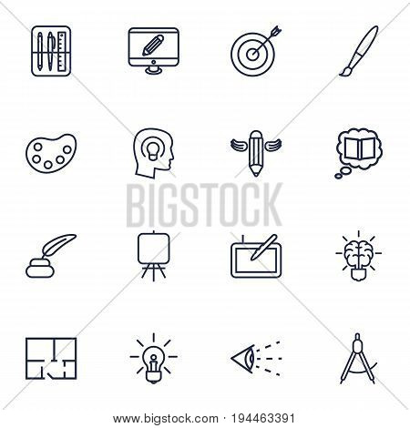 Set Of 16 Constructive Outline Icons Set.Collection Of Knowledge, Inkwell With Pen, Concept And Other Elements.