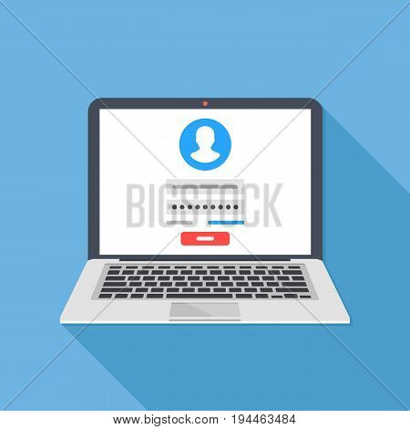 Laptop with login form page on screen. Sign in to account, user authorization, login authentication page concept. Username, password fields, sign in button. Long shadow flat design vector illustration poster