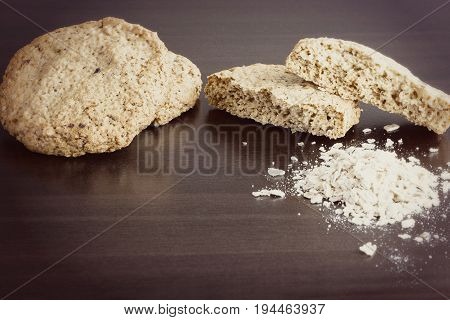 Homemade Oatmeal Cookie, Healthy Dessert, On Dark Background. Copy Space. Selective Focus