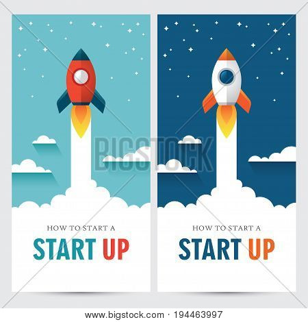 Two vertical web banners with rocket illustration in flat style. New business or project start up design concept.