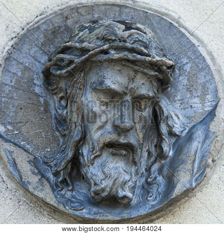 Jesus Christ in a crown of thorns (fragment of statue)