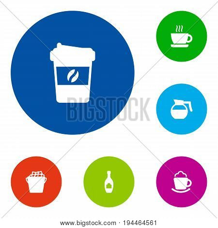 Set Of 6 Beverages Icons Set.Collection Of Teapot, Fridge, Cup And Other Elements.