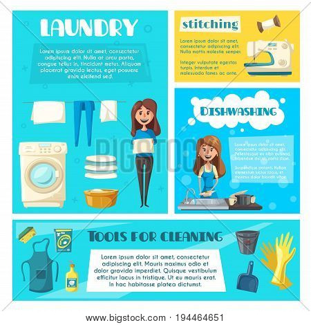 Housewife doing household chores cartoon banner template. Woman washing dishes, hanging laundry and sewing clothes poster set with bucket, apron, dustpan, sponge and soap. Housework themes design