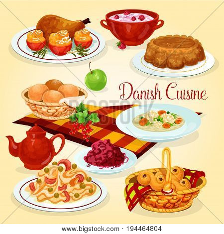 Danish cuisine healthy lunch dishes cartoon icon. Fish pasta and red cabbage salad, rice pudding with cherry sauce, chicken with stuffed tomato, chicken vegetable soup, nut pie, raisins bun