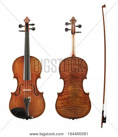 Cello Front, Back View And Bow Set Isolated On White Background