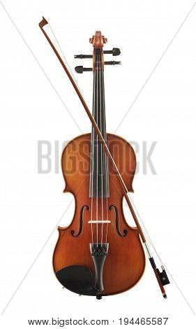 Cello With Bow Isolated On White Background