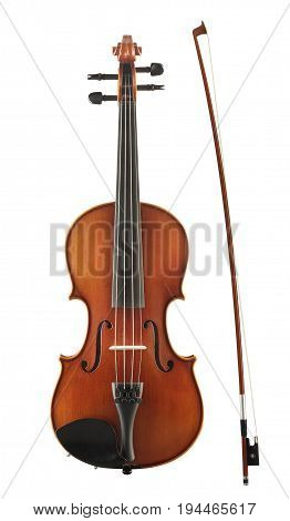 Wooden cello with bow isolated on white background
