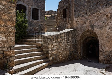 Tourist Main Entrance To Spinalonga Fortress Later A Leper Colony.