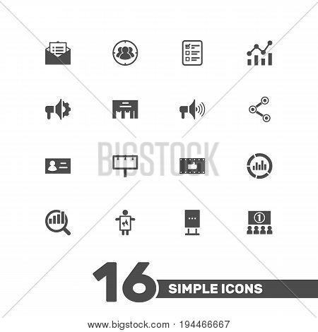 Set Of 16 Advertising Icons Set.Collection Of Id, Statistics, Like And Other Elements.