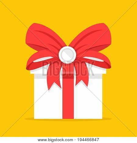 White gift box with red bow and red ribbons. Holiday present, beautiful giftbox, Christmas gift, surprise concepts. Vector illustration isolated on yellow background