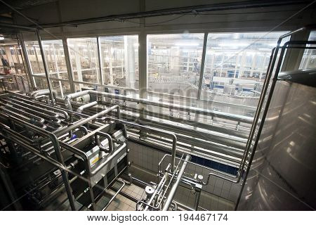 Interior of modern brewery. production of beer, enterprise, business concept.