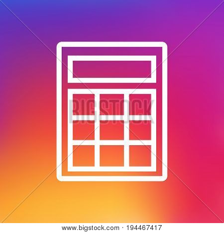 Isolated Calculate Outline Symbol On Clean Background. Vector Calculator Element In Trendy Style.