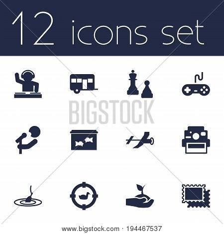 Set Of 12 Hobbie Icons Set.Collection Of Rod, Caravan, Checkmate And Other Elements.