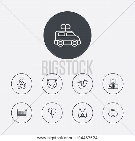 Set Of 9 Kid Outline Icons Set.Collection Of Balloon, Footprints, Clockwork Car And Other Elements.