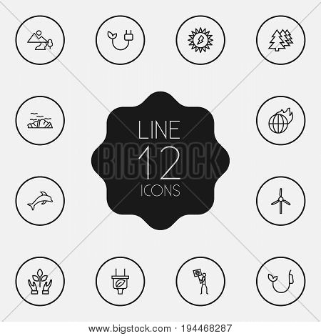 Set Of 12 Bio Outline Icons Set.Collection Of Ecologist, Wind Turbine, Plug And Other Elements.
