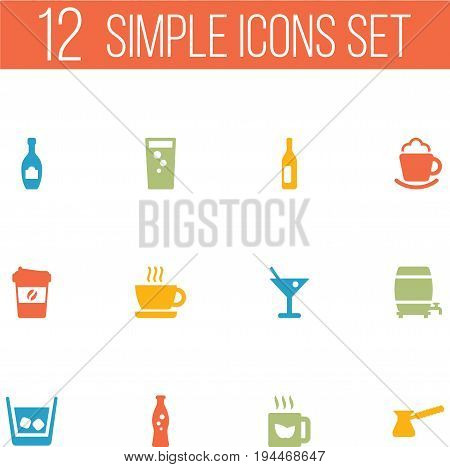 Set Of 12 Beverages Icons Set.Collection Of Cognac, Cask, Cream And Other Elements.