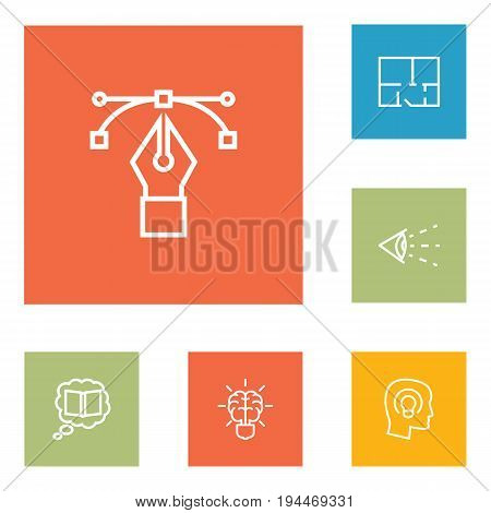 Set Of 6 Creative Outline Icons Set.Collection Of Property Plan, Concept, Bezier Curve And Other Elements.