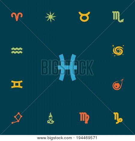 Set Of 13 Horoscope Icons Set.Collection Of Space, Virgin, Horoscope And Other Elements.