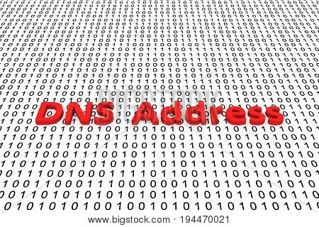 DNS address as a binary code 3D illustration