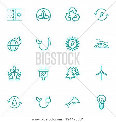 Set Of 16 Ecology Outline Icons Set.Collection Of Afforestation, Recycling, Global Warming And Other Elements.